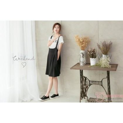 Nursing Dress - 2pcs Smile Stripe Black