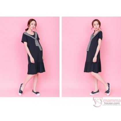 Nursing Dress - Chest Stripe Dark Blue
