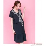 Nursing Dress - Chest Stripe Dark Blue