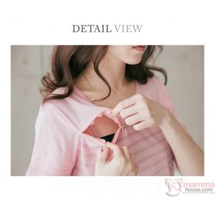 Nursing Set - Stripe Blue (plus baby romper) Short Sleeves