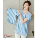 Nursing Set - Stripe Blue (plus baby romper) Short Sleeves