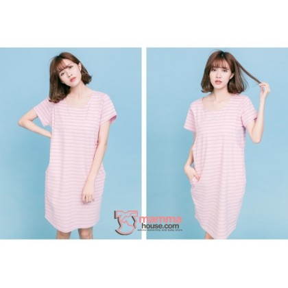 Nursing Set - Stripe Pink (plus baby romper) Dress