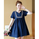 Maternity Dress - Dark Blue V