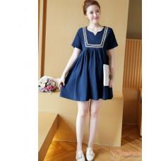 Maternity Dress - Dark Blue V