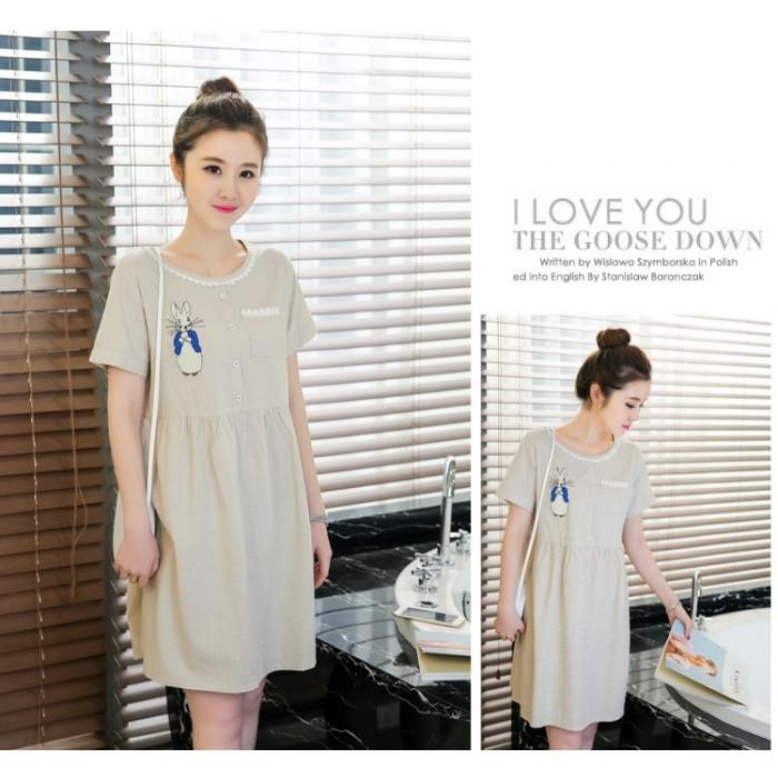 e5e53b3eb5 Maternity Dress - Rabbit Stripe Khaki