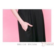 Nursing Dress - 2pcs Stripe Tops Dress Black