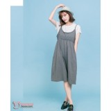 Nursing Dress - 2pcs Stripe Tops Dress Grey