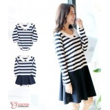 Nursing Dress - Long Navy Blue Stripe (plus baby romper)