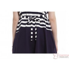 Nursing Dress - Long Navy Blue Stripe (plus baby romper)
