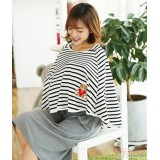 Nursing Cloak - Stripe White-Black