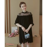 Maternity Dress - Chiffon Lace Black