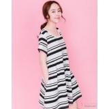 Nursing Dress - Simple Stripe White Black