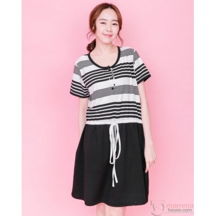 Nursing Dress - Bottom Black String Stripe Tiny