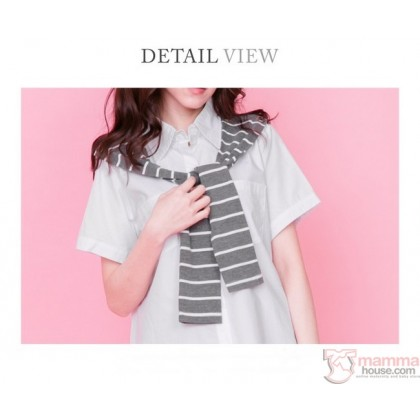 Nursing Tops - Shoulder String Stripe Grey