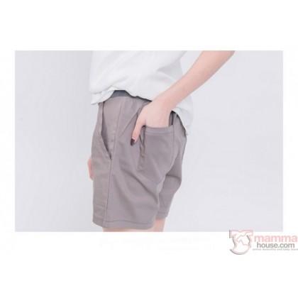Maternity Shorts - Simple Pocket Khaki Grey