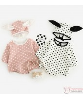 Baby Clothes - Romper Polka Rabbit (White or Pink)