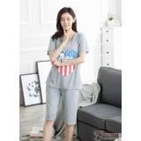 Mamma Pajamas - Snoopy Heart Grey Short Sleeves