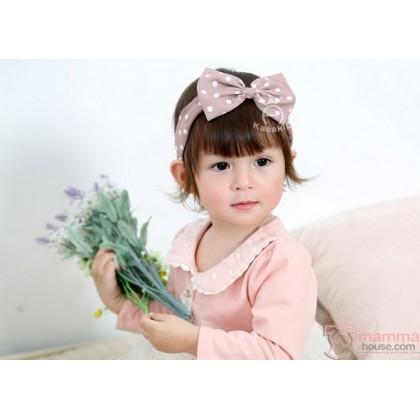 Baby Headband - Kaca Polka Khaki Pink