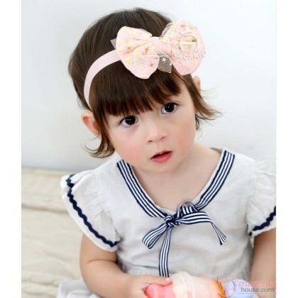 Baby Headband - Kaca Lace Star Ribbon Pink