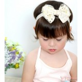 Baby Headband - Kaca Lace Star Ribbon Beige