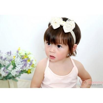 Baby Headband - Kaca Lace Star Ribbon Beige