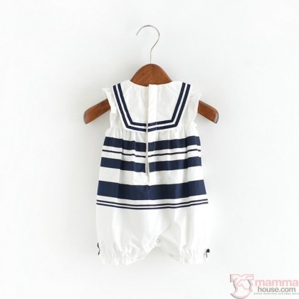 Baby Clothes - Romper Navy Stripe Girl