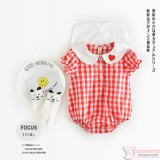Baby Clothes - Romper Grid Red