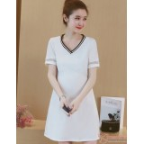 Maternity Dress - V Dress White