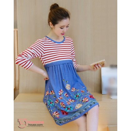 Nursing Dress - Flower Dress Long Red