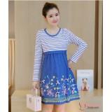 Nursing Dress - Flower Dress Long Blue