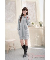 Nursing Dress - Long 2 Pocket Grey