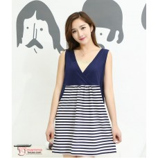 Maternity Dress - 2pcs Stripe Knitted Sleeves Long