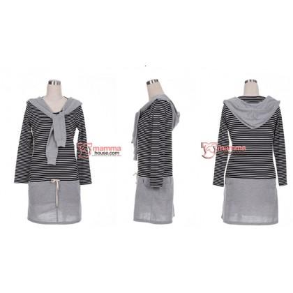 Nursing Dress - Long Black Stripe Hat Grey