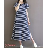 Maternity Dress - Long Stripe Dark Blue