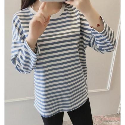 Nursing Tops - Long Zip Stripe Blue