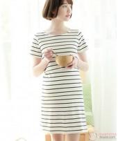 Nursing Dress - Simple Stripe White