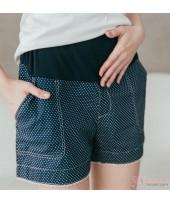 Maternity Shorts - Polka Lace Blue