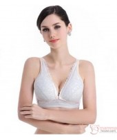 X Nursing Bra - Button Padded Skin Lace