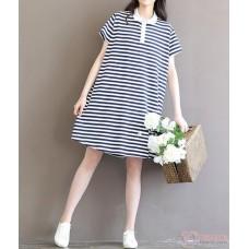 Maternity Dress -  White Collar Stripe Sleeves Short