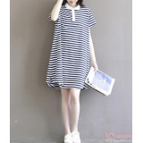 Maternity Dress -  White Collar Stripe Sleeves Short