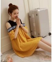 Maternity Dress - Opening Shoulder Yellow