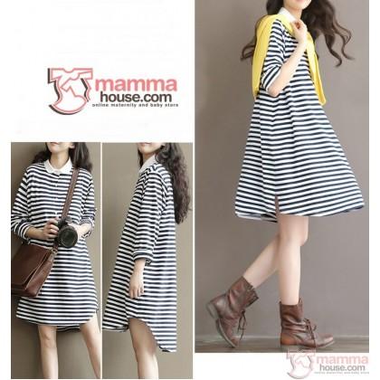 Maternity Dress - White Collar Stripe Sleeves Long