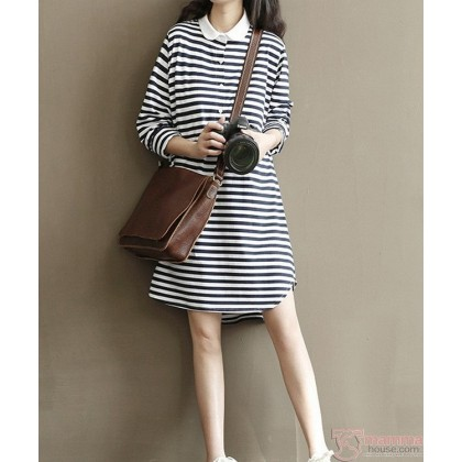 Maternity Dress - White Collar Stripe Sleeves Long