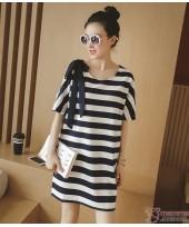 Nursing Dress - Stripe Ribbon Black White