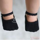 Baby Socks - Korean Lace Boat Black