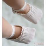 Baby Socks - Korean Lace Boat Beige