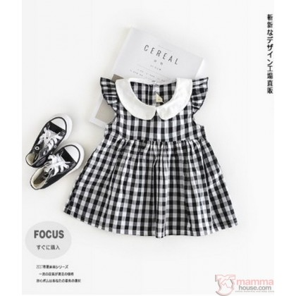 Baby Clothes - Dress Grid Black