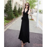 Nursing Dress - Long Chest Cross Black
