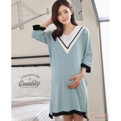 Mamma Pajamas Dress - V Green Blue