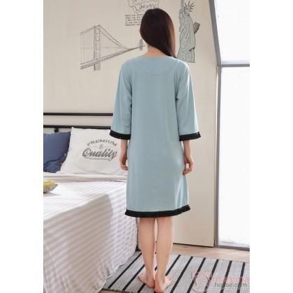 Mamma Pajamas Dress - V Green Blue